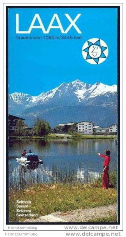 Laax 70er Jahre - Faltblatt mit 22 Abbildungen - Faltblatt Luftseilbahnen Skilifte Sesselbahnen Fahrplan und Preise