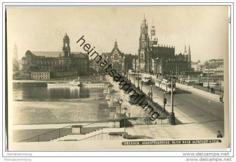 Dresden - Augustusbrücke - Strassenbahn - Foto-AK 0