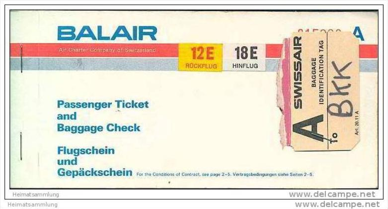 Balair - Zurich Bangkok Zurich 0