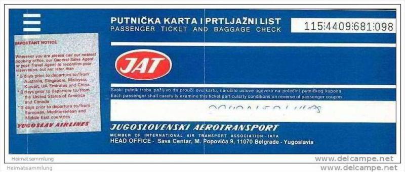 JAT - Jugoslovenski Aerotransport 1989 - Belgrade Singapore Bangkok Belgrade 0