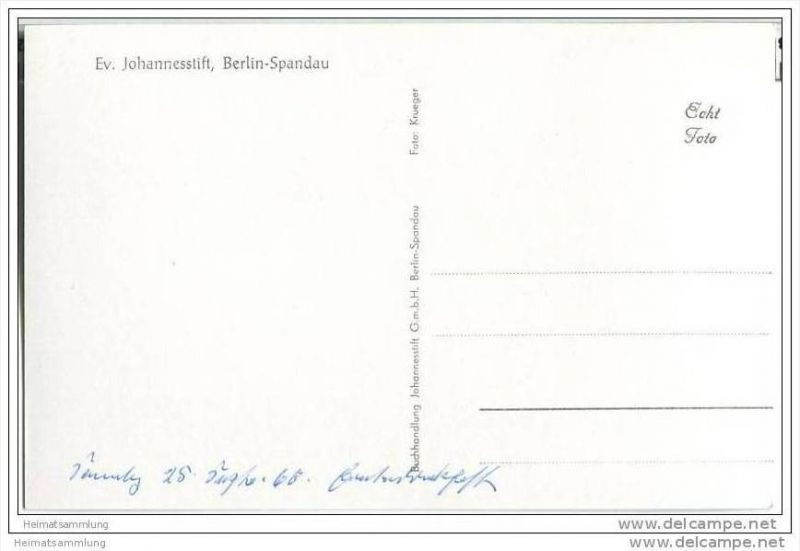 Berlin-Spandau - Ev. Johannesstift - Eingang - Foto-AK 1