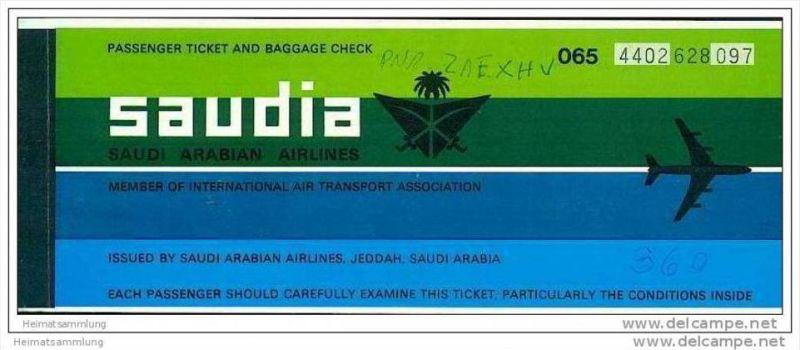 Saudia - Saudi Arabian Airlines 1982 - Geneva Riyadh Jeddah Geneva 0