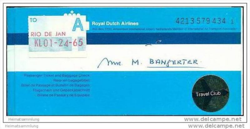 KLM - Royal Dutch Airlines 1978 - Zurich Amsterdam Rio de Janeiro