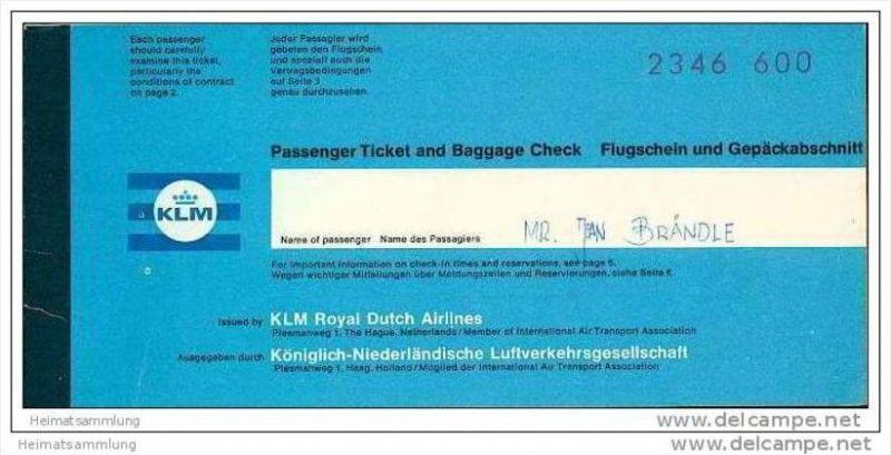 KLM - Royal Dutch Airlines 1968 - Zurich Amsterdam Zurich 0