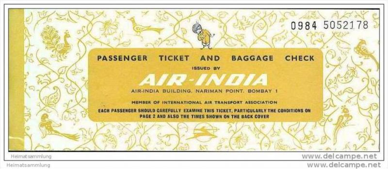 Air-India 1972 - Bangalore Cochin Bangalore Rome 0