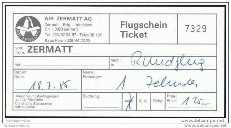 Air Zermatt AG 1985 - Rundflug 0