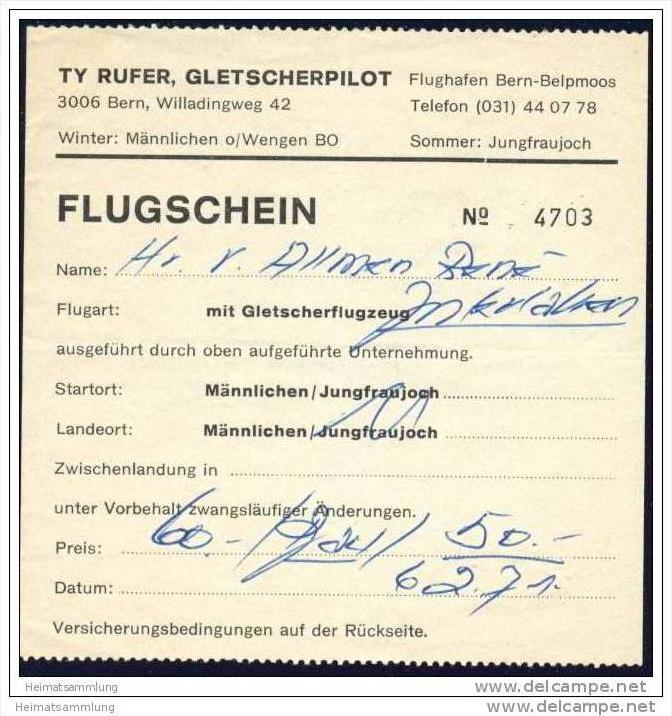 Ty Rufer Gletscherpilot Flughafen Bern-Belpmoos - Flugschein 1971 0