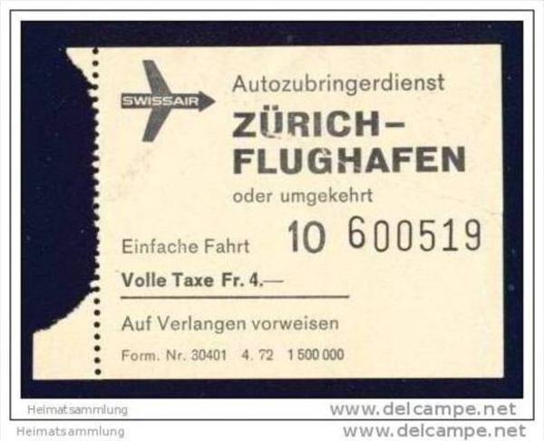 Swissair - Autozubringerdienst Zürich Flughafen oder umgekehrt 1972