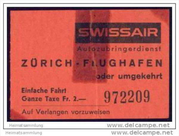 Swissair - Autozubringerdienst Zürich Flughafen oder umgekehrt - Klebestelle 0