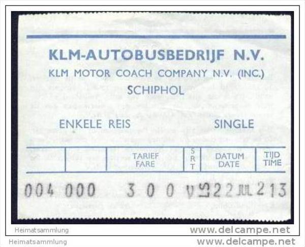 Flughafenzubringer-Ticket - KLM Autobusbedrijf N.V. - Schiphol 0