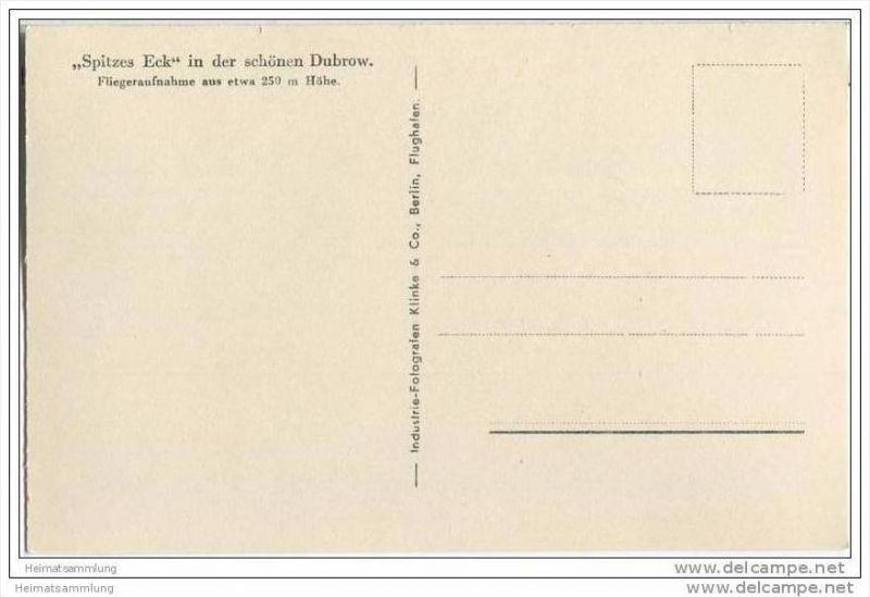 Spitzes Eck - Dahme - Dubrow - Fliegeraufnahme - Foto-AK 30er Jahre 1