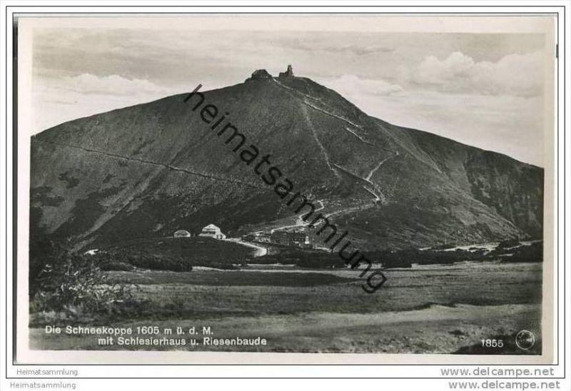 Schneekoppe - Schlesierhaus - Riesenbaude - Foto-AK 30er Jahre