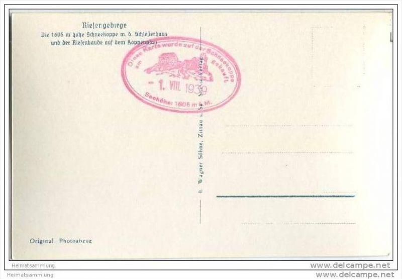 Schneekoppe - Schlesierhaus - Riesenbaude - Foto-AK 30er Jahre 1