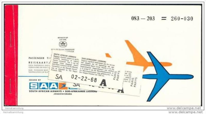 SAA SAL - South African Airways - Suid Afrikaanse Lugdiens 1974 - Johannisburg Paris Zurich 0