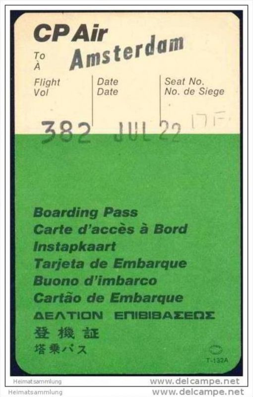 Boarding Pass - CP Air - Canadian Pacific Air Lines