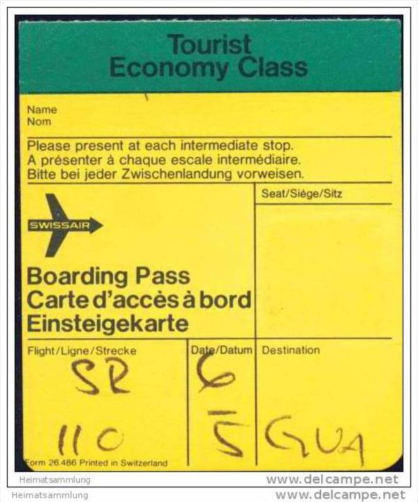 Boarding Pass - Swissair
