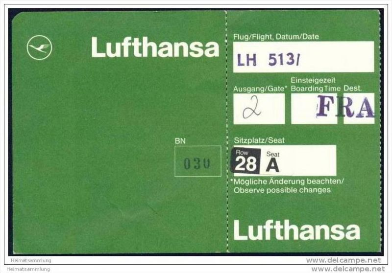 Boarding Pass - Lufthansa 0