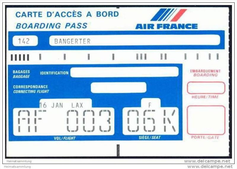 Boarding Pass - Air France
