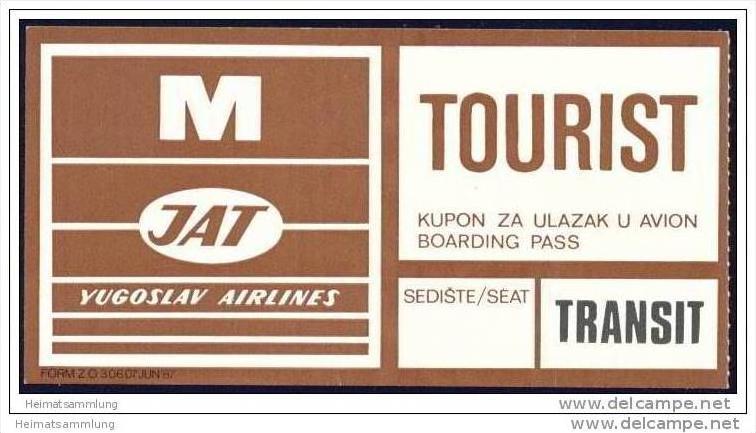 Boarding Pass - Transit - JAT Yugoslav Airlines
