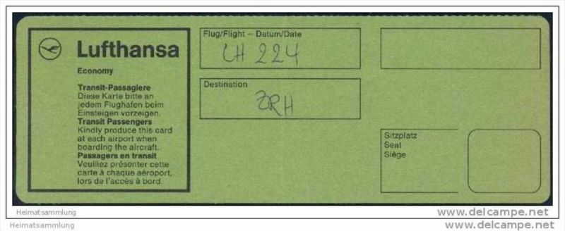 Boarding Pass - Transit - Lufthansa