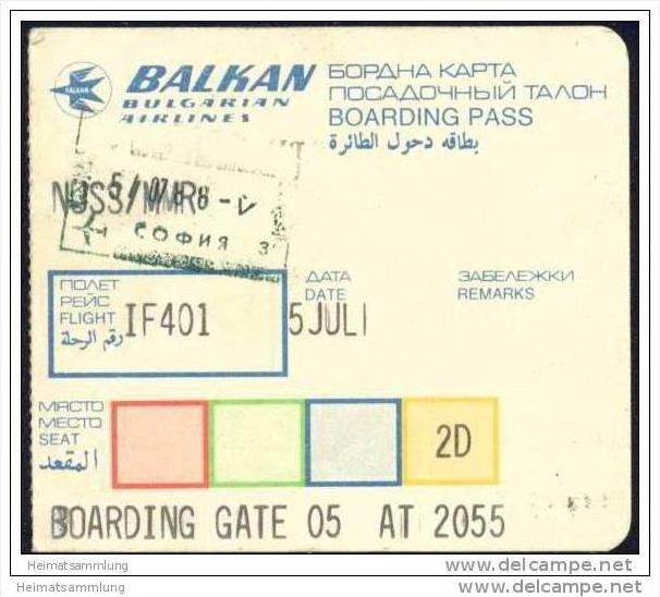 Boarding Pass - Balken Bulgarian Airlines