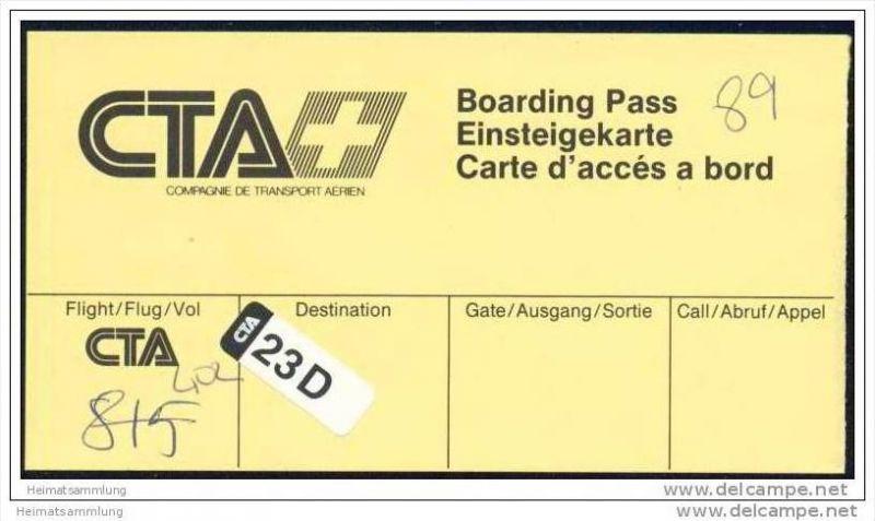 Boarding Pass - CTA Compagnie de transport aerien 0