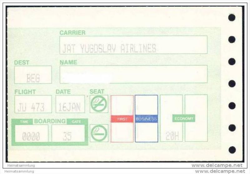 Boarding Pass - JAT Yugoslav Airlines