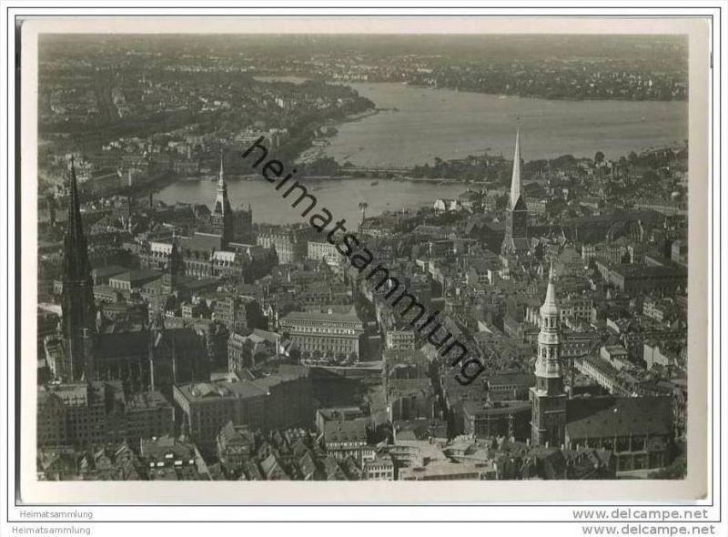 Hamburg - Stadtzentrum - Flugblick - Foto-AK Grossformat 30er Jahre 0