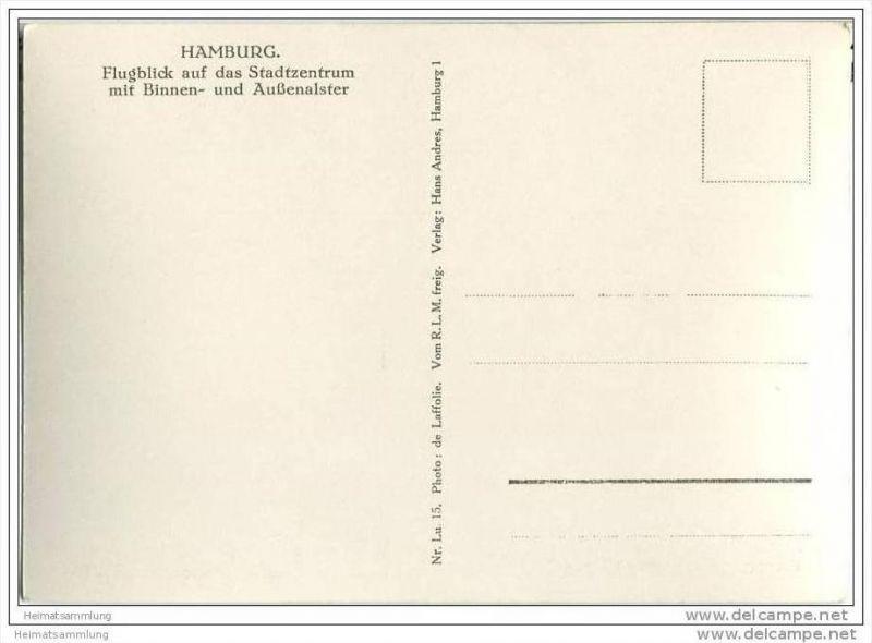 Hamburg - Stadtzentrum - Flugblick - Foto-AK Grossformat 30er Jahre 1