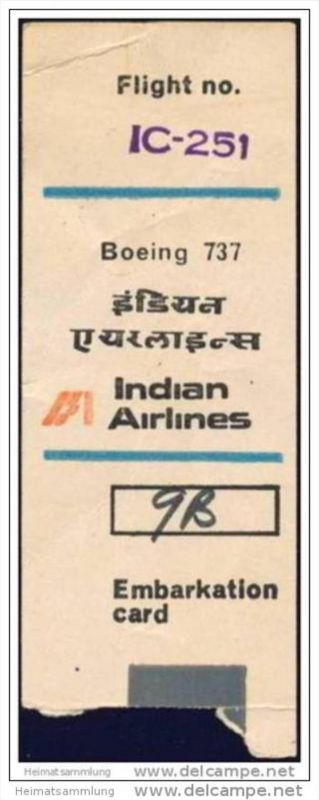 Boarding Pass - Indian Airlines