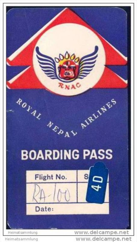 Boarding Pass - RNAC Royal Nepal Airlines