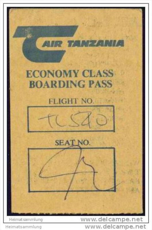 Boarding Pass - Air Tanzania