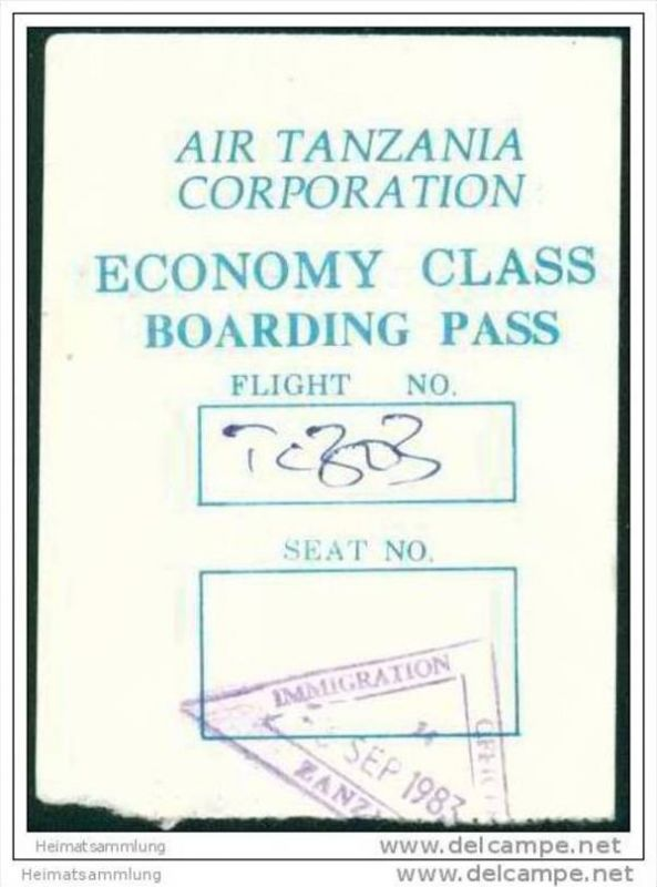 Boarding Pass - Air Tanzania Corporation