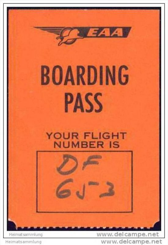 Boarding Pass - EAA - East African Airways