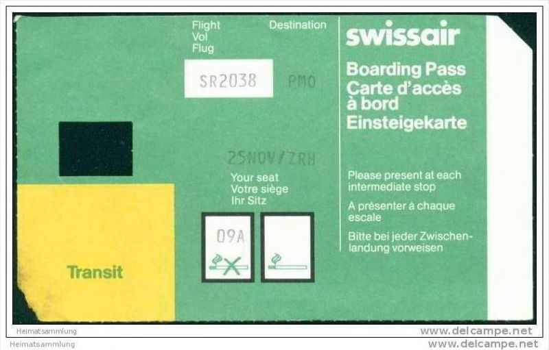 Boarding Pass - Transit - Swissair
