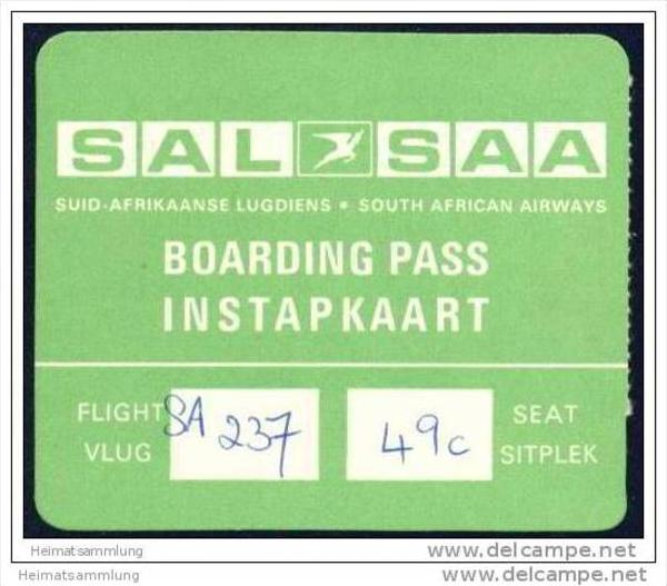 Boarding Pass - SAL-SAA Suid Afrikaanse Lugdiens - South African Airways