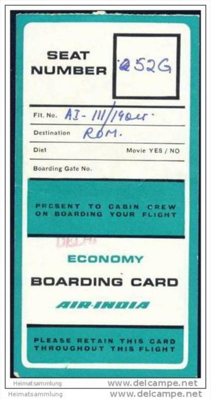 Boarding Pass - Air-India