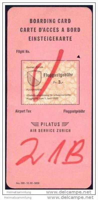 Boarding Card - Pilatus Air Service Zurich 0