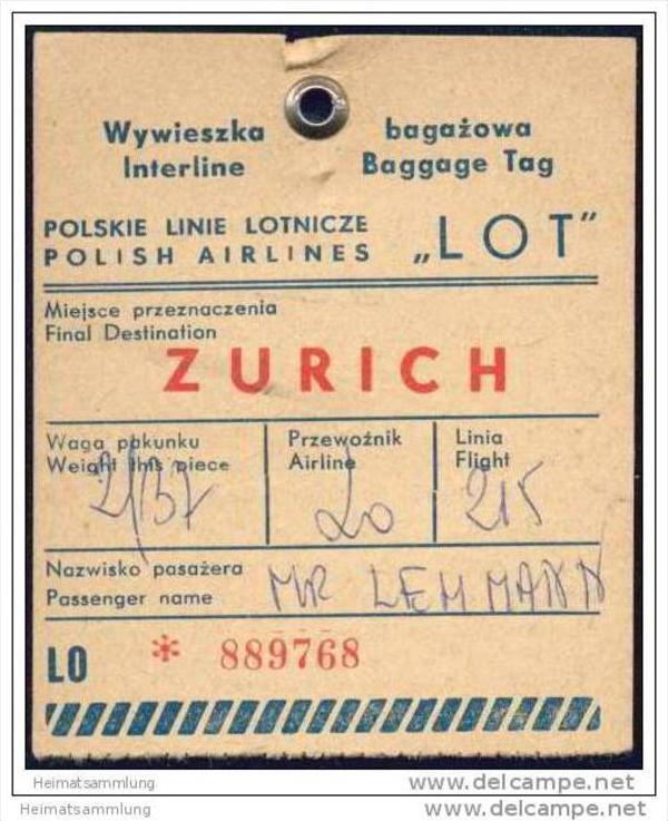 Baggage strap tag - LOT Polskie Linie Lotnicze 0