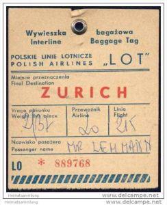 Baggage strap tag - LOT Polskie Linie Lotnicze
