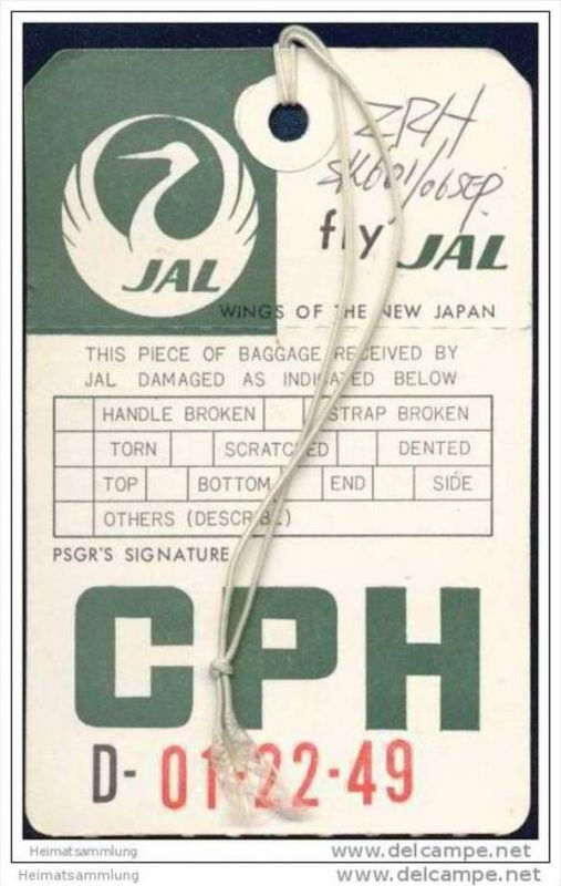 Baggage strap tag - JAL Japan Air Lines