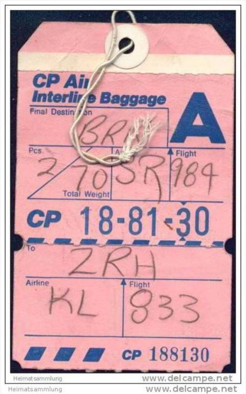 Baggage strap tag - CP Air Canadian Pacific Air Lines