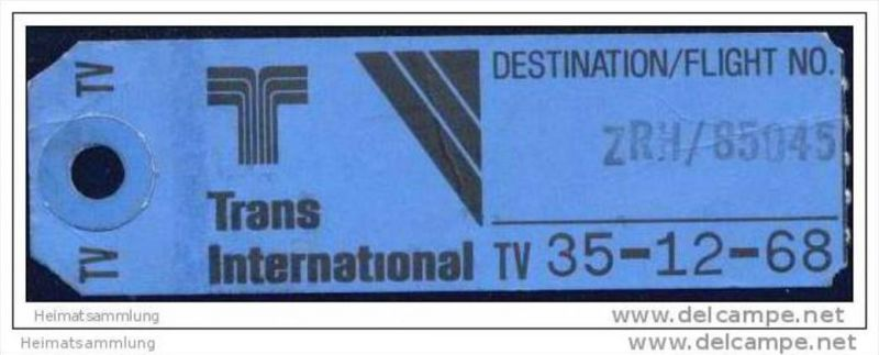 Baggage strap tag - Trans International Airlines