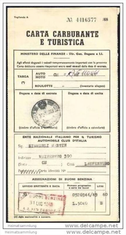 Carta Carburante e Turistica - Tankkarte für Italien 1968 0