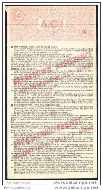 Carta Carburante e Turistica - Tankkarte für Italien 1968 1