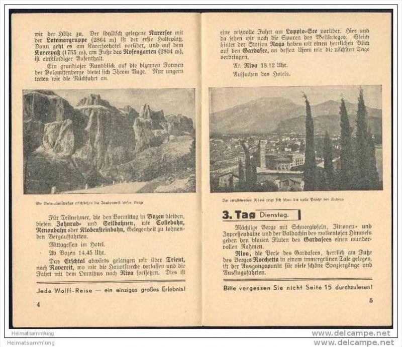 Wolffs Reisebüro Leipzig 1938 - Gesellschaftsrundreise Gardasee Venedig Meran - 16 Seiten mit 9 Abbildungen 1