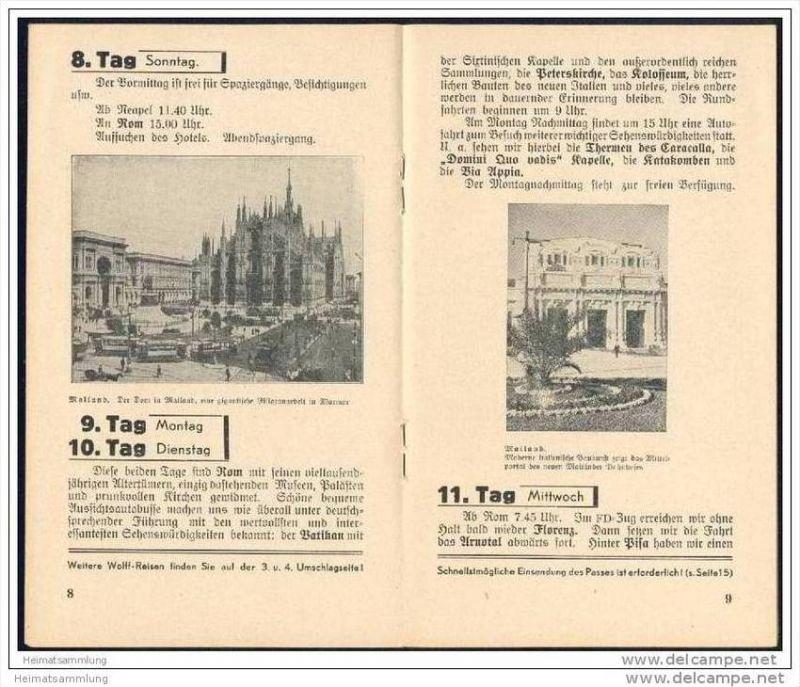 Wolffs Reisebüro Leipzig 1938 - Gesellschaftsrundreise Rom Neapel Capri - 16 Seiten mit 7 Abbildungen 1