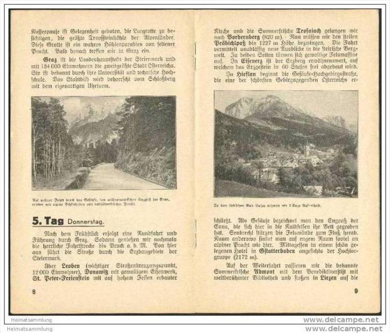 Wolffs Reisebüro Leipzig 1938 - Gesellschaftsrundreise Wien Steiermark Salzkammergut - 16 Seiten mit 8 Abbildungen 1