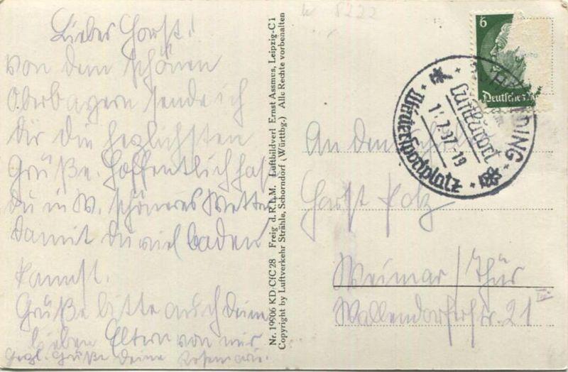 Ruhpolding - Foto-AK - Fliegeraufnahme - Verlag Luftverkehr Strähle Schondorf - gel. 1937 1