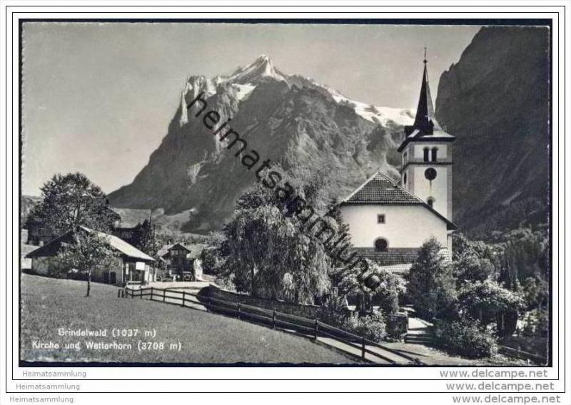 Grindelwald - Kirche - Wetterhorn - Foto-AK